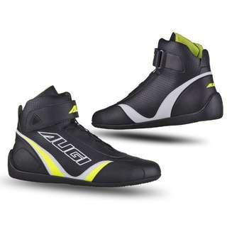 🚚 美國AUGI時尚車靴 AU7 Urban 車靴 皮革車靴 休閒短車靴 買就加送手套 潮牌流行  黑白/營光黃色