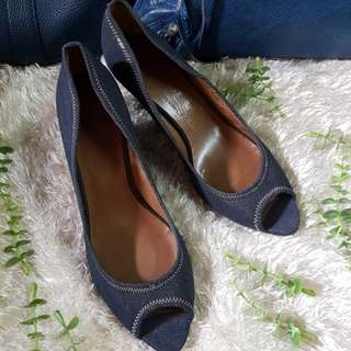 Authentic Salvatore Ferragamo Denim Canvas Peeptoe Wedge Shoes Size 9