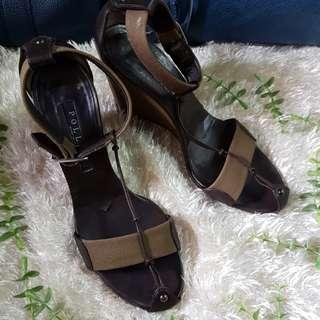 Authentic Pollini Gladiator Wedge Sandals Size 37