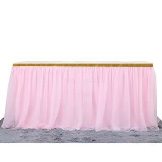 Pink Double Layered Table Skirt