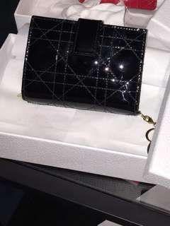 Lady Dior Wallet - Patent Leather Black