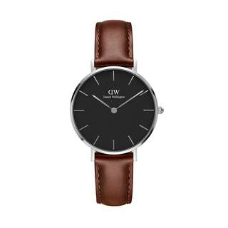 100% Original [SALES] Daniel Wellington Watch Classic Petite Collection St Mawes Silver 28mm / 32mm Black Face Free Delivery