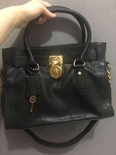 Michael Kors Hamilton Black Leather (Authentic)