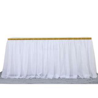White Double Layered Table Skirt