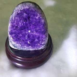 天然紫晶鎭含旋轉底座