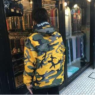 Supreme 17aw hooded logo half zip pullover yellow camo 黃迷彩