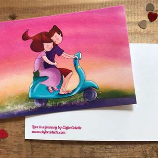 Love is a journey postcard
