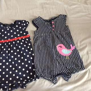 Rompers Carter's USA navy birds 9-12 months girls