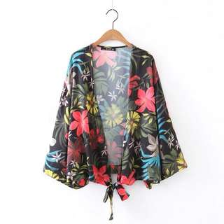 2018 summer new European and American fashion style classic flowery flower print loose kimono jacket
