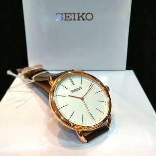 * FREE DELIVERY * Brand New 100% Authentic Seiko Ladies Casual Quartz Watch with Rose Gold Case & Brown Leather Strap SUR234 SUR234P1