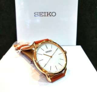 * FREE DELIVERY * Brand New 100% Authentic Seiko Ladies Casual Quartz Watch with Rose Gold Case & Khaki Brown Leather Strap SUR238 SUR238P1