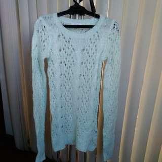 Light blue pastel knit sweater with slight shimmer