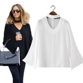 [PO166]Women Fashion Halter V-Neck Blouse Long Sleeve Ruffles Loose Top