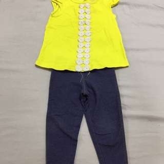 Carter's USA yellow jeggings lemons set girls
