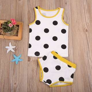 🦁Instock - 2pc yellow polkadot set, baby infant toddler girl boy children glad cute 123456789 lalalala