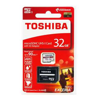 Toshiba Micro SD SDHC UHS-1 Class 10 90mbps 32GB w/adapter/THN-M302R0320A2