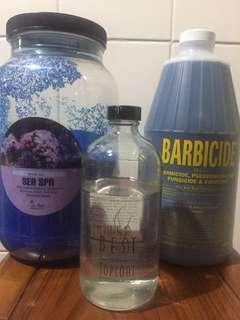 La Palm foot soak treatment, Air Cure Super fast drying topcoat, Barbicide (new)