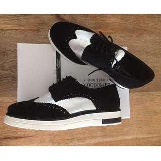 Leather wedge heel brogues black/silver