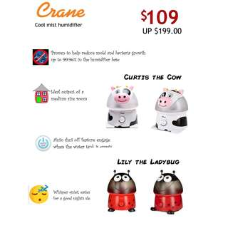 Crane Adorable Ultrasonic Cool Mist Humidifier