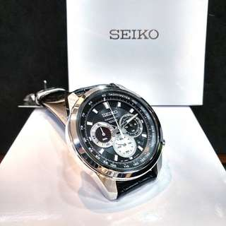* FREE DELIVERY * Brand New 100% Authentic Seiko Chronograph Quartz Men Watch Black Dial & Black Leather Strap SSB249 SSB249P1