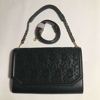 (Authentic) Charles & Keith Black Lase Crossbody Bag