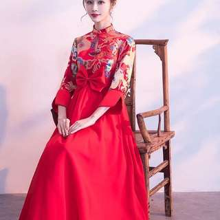 Ladies Bride Wedding Red Cheongsam Embroidered Tulle Lace Dress Gown