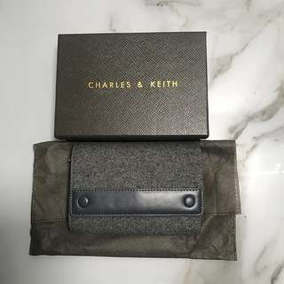 (Authentic) Charles & Keith Grey Suede Short Wallet