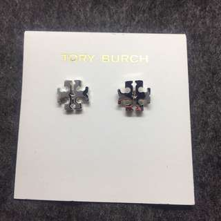 Tory Burch logo stud earrings silver 銀色經典logo 耳環