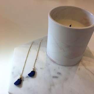 寶藍色辣椒仔耳環 Earrings