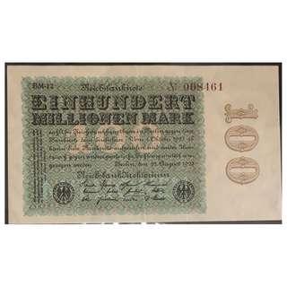 1923 德國紙幣100Million mark