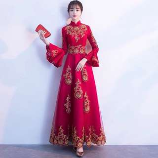 Ladies Bride Wedding Red Cheongsam Embroidered Tulle Lace Horn Sleeve Dress Gown