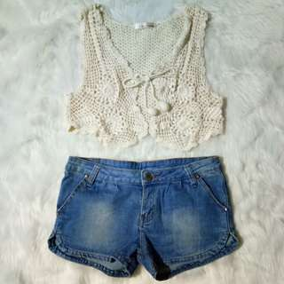 Crochet Vest and Denim Short
