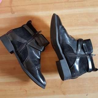 H&M Ankle Black Patent Boots