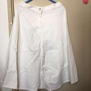白色牛仔半身傘裙