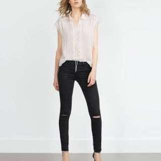 ZARA Denim Ripped Jeans Black