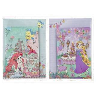 Japan Disneystore Disney Store Ariel & Rapunzel Tangled Princess Party Letter Set with Clear File