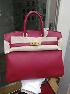 Hermes birkin 25 rough grenat x stamp