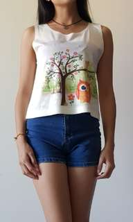 Graphic owl sleeveless crop top