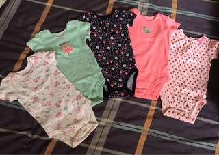 Carter's Baby Girl Onesies (Sold as set of 5)
