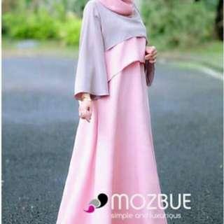 #Minzy Dress by #GrosirZevanic Baru Belum dicuci Hanya dicoba Bahan balotelly mix lace aplikasi pearl warna Mocca applikasi baby pink Size LD 104 P 125