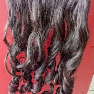 HAIR CLIP 45CM CURLY DARK BROWN