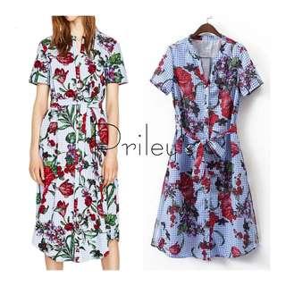 Floral Gingham Dress