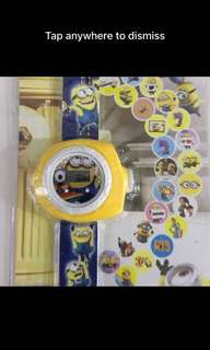 Minions watch with projector images