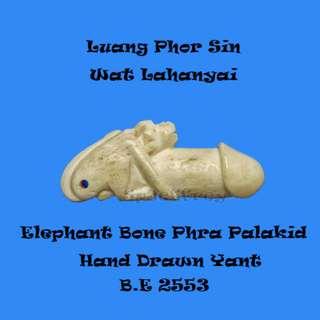 Thai Amulet - Lp Sin Wat Lahanyai Phra Palakid Elephant Bone B.E 2553