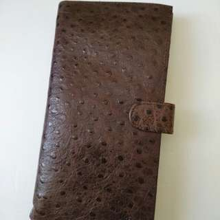 💞💖New Ostrich Leather Pattern Long Wallet In Brown