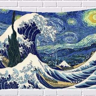 小預算佈置術浮世繪藍紅浪裝飾掛布壁畫