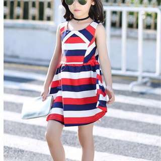 kid's Wear Pearl Chiffon Combined Stripe Dress