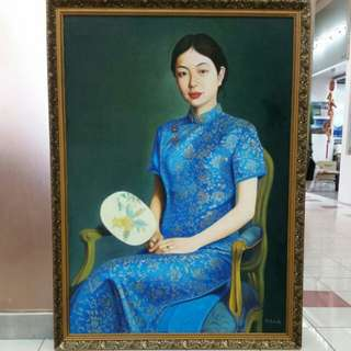 Chinese Oil painting on Canvas 'Cheongsam Lady ' Huge H136xL100cm