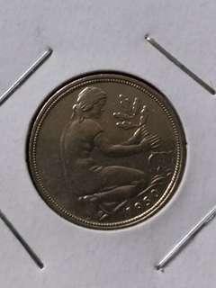 德國1950年50芬尼硬幣