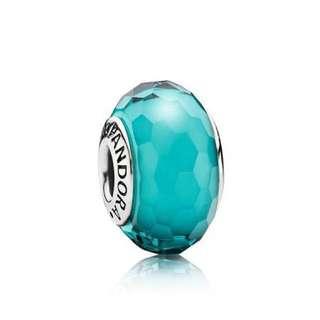 Pandora blue green glass charm